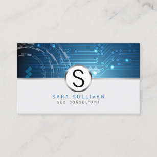 Seo business cards zazzle seoconsultant computer circuits monogram internet business card colourmoves