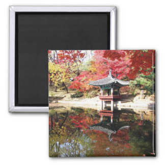 Seoul Autumn Japanese Garden 2 Inch Square Magnet