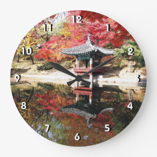 Seoul Autumn Japanese Garden Large Clock