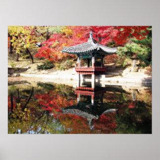 Seoul Autumn Japanese Garden Print