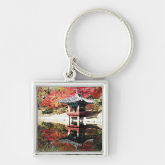 Seoul Autumn Japanese Garden Silver-Colored Square Keychain