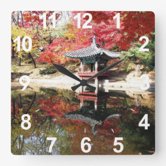 Seoul Autumn Japanese Garden Square Wall Clock