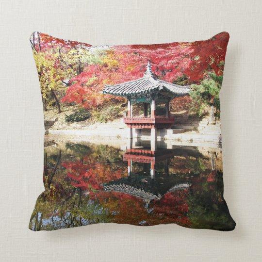 Seoul Autumn Japanese Garden Throw Pillow