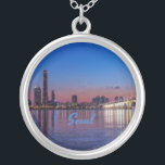 "Seoul Capital of South Korea City Skyline Silver Plated Necklace<br><div class=""desc"">Seoul Capital of South Korea City Skyline</div>"