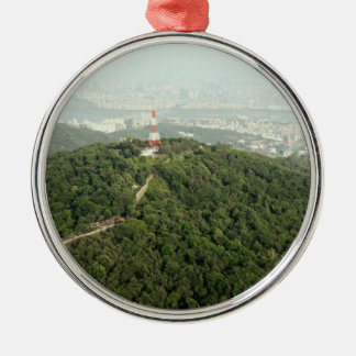 Seoul From Above Photo Round Metal Christmas Ornament