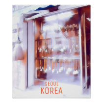 Seoul Korean travel poster art shop paint brushes