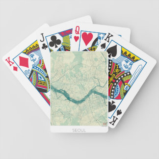 Seoul Map Blue Vintage Watercolor Bicycle Playing Cards
