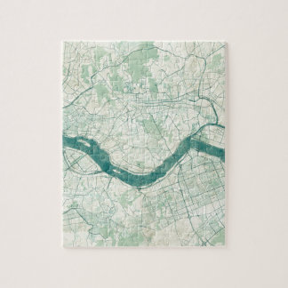 Seoul Map Blue Vintage Watercolor Jigsaw Puzzle