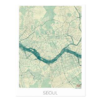 Seoul Map Blue Vintage Watercolor Postcard