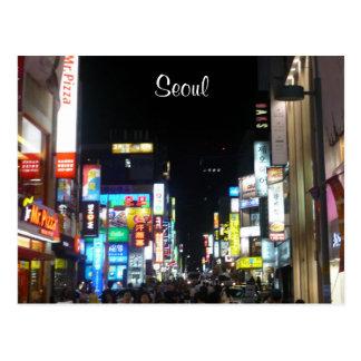 seoul night lights postcard