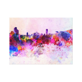 Seoul skyline in watercolor background canvas print