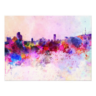 Seoul skyline in watercolor background photo print