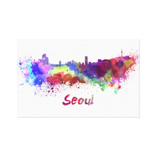 Seoul skyline in watercolor canvas print