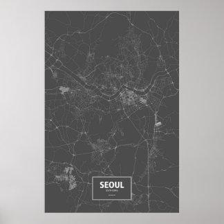 Seoul, South Korea (white on black) Poster