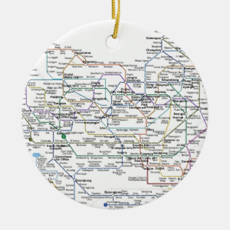Seoul Subway Map Double-Sided Ceramic Round Christmas Ornament