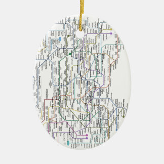 Seoul Subway Map Double-Sided Oval Ceramic Christmas Ornament