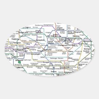 Seoul Subway Map Oval Sticker
