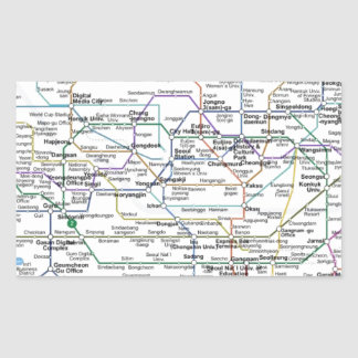 Seoul Subway Map Rectangular Sticker