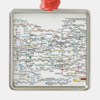 Seoul Subway Map Square Metal Christmas Ornament