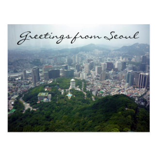 seoul tower view postcard