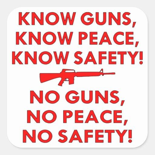 Sepa la seguridad de la paz de los armas, ninguna calcomanía cuadradas personalizada