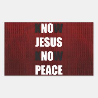 Sepa que Jesús conoce al cristiano de la paz Rectangular Pegatina