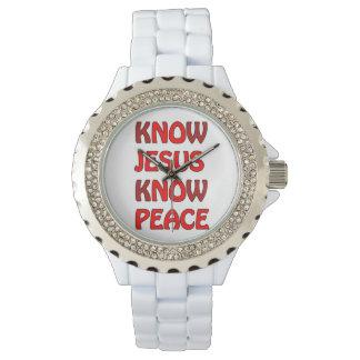 Sepa que Jesús sabe paz ningún Jesús ninguna paz Reloj De Mano