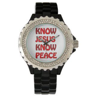 Sepa que Jesús sabe paz ningún Jesús ninguna paz Relojes De Mano