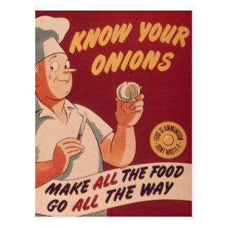 Sepa sus cebollas - dibujo animado del vintage tarjetas postales