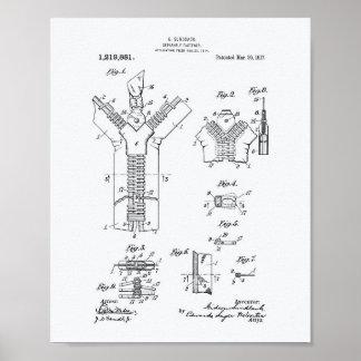 Separable Fastener 1917 Patent Art White Paper Poster