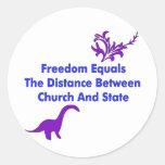 Separación de iglesia y estada etiqueta redonda