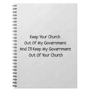 Separación del estado de la iglesia libros de apuntes con espiral
