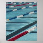 Separadores plásticos en crear de la piscina poster