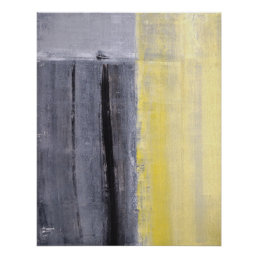 'Separated' Grey and Yellow Abstract Art Poster