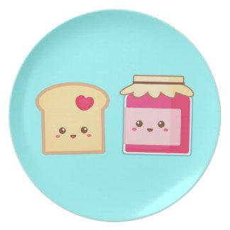 Separe el amor con la tostada y el atasco lindos plato de cena