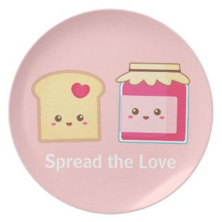 Separe el amor con la tostada y el atasco lindos plato
