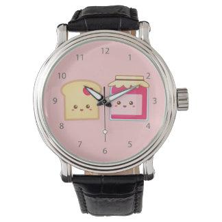 Separe el amor con la tostada y el atasco lindos reloj de mano