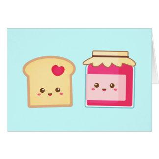 Separe el amor con la tostada y el atasco lindos tarjeta de felicitación