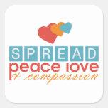 Separe el amor y la compasión de la paz calcomanías cuadradass personalizadas
