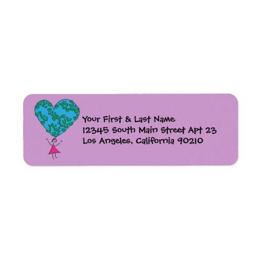 Separe la paz del amor en todo el mundo en la etiqueta de remite