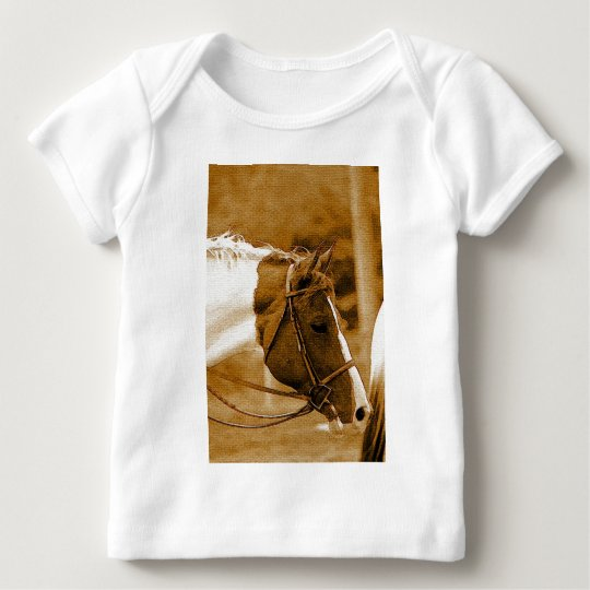 Sephia Horse Mosaics Baby T-Shirt