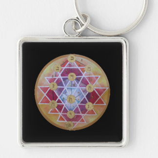 Sephirot Silver-Colored Square Keychain