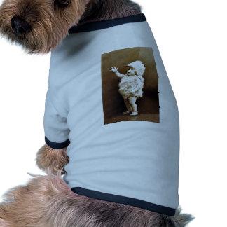 Sepia adorable del bebé del chica del juego del camiseta con mangas para perro