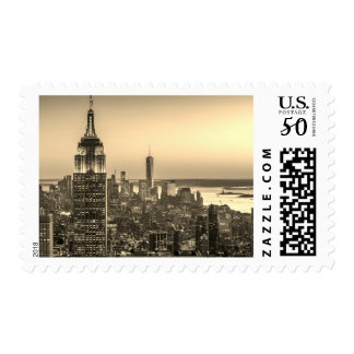 Sepia Aerial View of New York City Night Postage