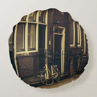 Sepia Amsterdam Street Photography, Bicycle Round Pillow