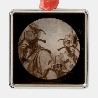 Sepia Antique Design Gas Mask Girls Metal Ornament