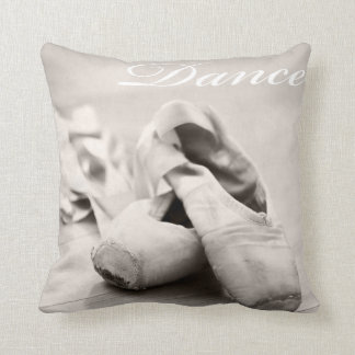 Sepia Ballet Slipper Pointe Shoes Dance Template Throw Pillow