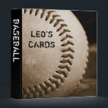"""Sepia Baseball 1&quot; Sports Cards Binder<br><div class=""""desc"""">A baseball in an old leather mitt,  toned to sepia graces this 1&quot; sports cards binder - perfect for any need from sports cards to photos. Totally customizable for you to personalize as you please!</div>"""