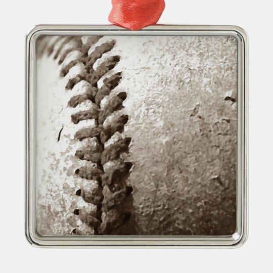 Sepia Baseball Metal Ornament