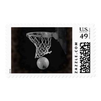 Sepia Basketball Artwork Postage Stamp
